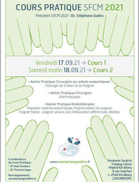 Cours pratique SFCM, 17 ET 18  SEPTEMBRE  2021